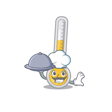 Warm thermometer chef cartoon character serving food on tray. Vector illustration