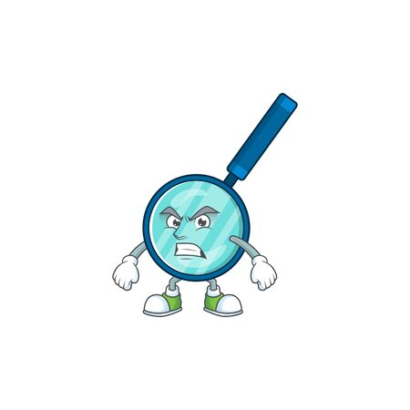 Mascot design style of magnifying glass with angry face. Vector illustration Ilustração