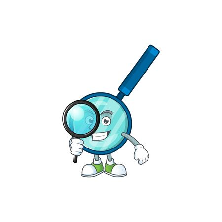 Smart Detective of magnifying glass cartoon character design concept. Vector illustration Vettoriali