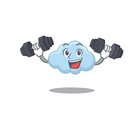 Mascot design of smiling Fitness exercise blue cloud lift up barbells