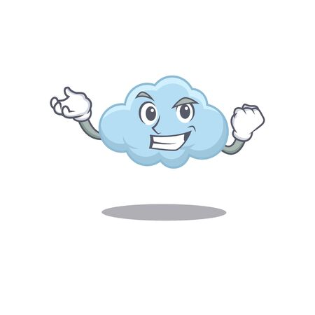 A dazzling blue cloud mascot design concept with happy face. Vector illustration