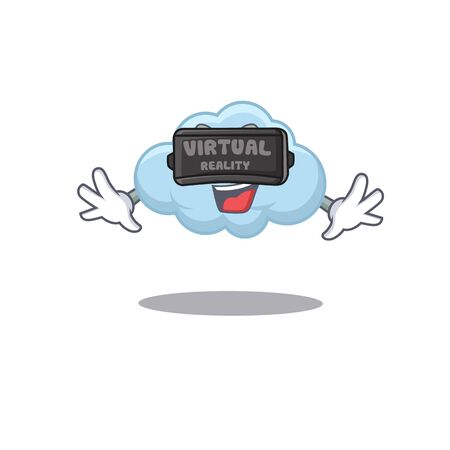 Cartoon design style of blue cloud with modern Virtual Reality headset. Vector illustration