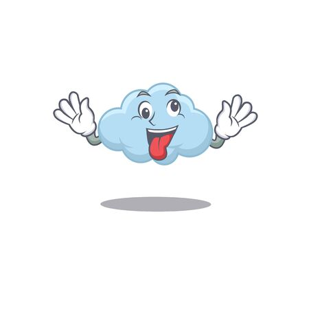 A cartoon design of blue cloud having a crazy face. Vector illustration Ilustração