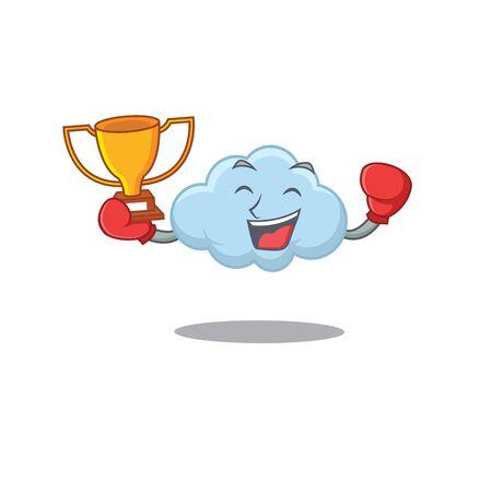An elegant boxing winner of blue cloud mascot design style
