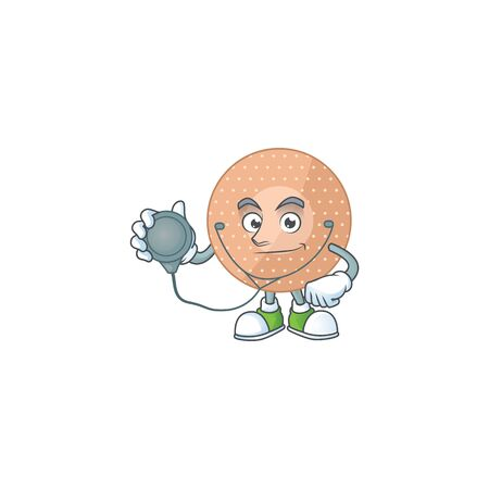 A dedicated Doctor rounded bandage Cartoon character with stethoscope. Vector illustration