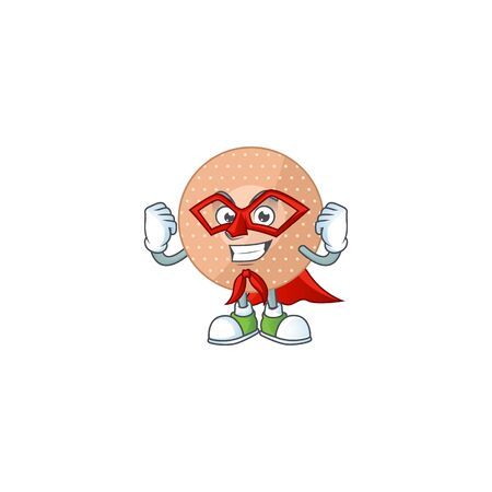 Cute rounded bandage cartoon character dressed as Super hero. Vector illustration
