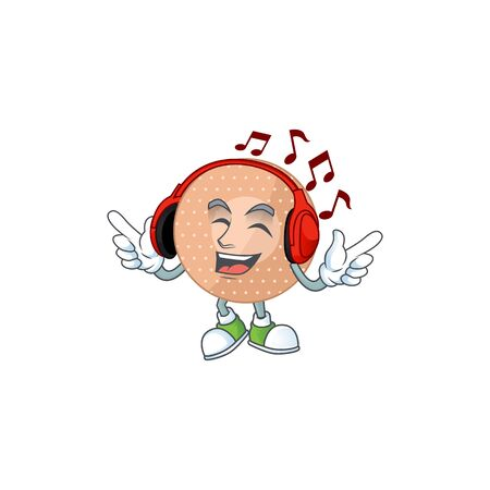 Cartoon mascot design rounded bandage enjoying music with headset. Vector illustration
