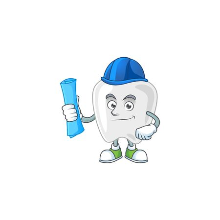 Talented Architect teeth cartoon design style having blue prints. Vector illustration Vector Illustration
