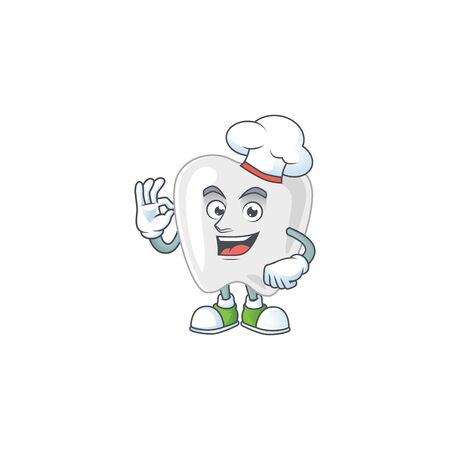Teeth cartoon design style proudly wearing white chef hat. Vector illustration