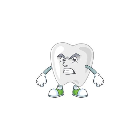 Mascot design style of teeth with angry face. Vector illustration Vectores