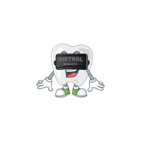 A cartoon mascot of teeth enjoying game with Virtual reality headset. Vector illustration