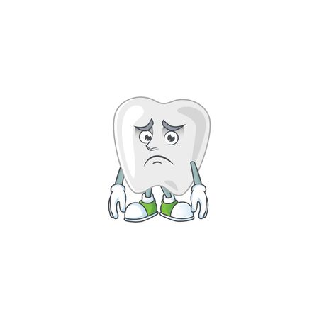 Cartoon picture of teeth with worried face. Vector illustration