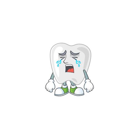 A weeping teeth cartoon character design concept. Vector illustration Illustration