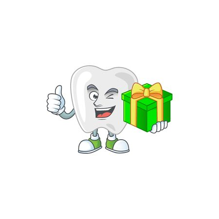 Smiley teeth cartoon character holding a gift box. Vector illustration Vectores