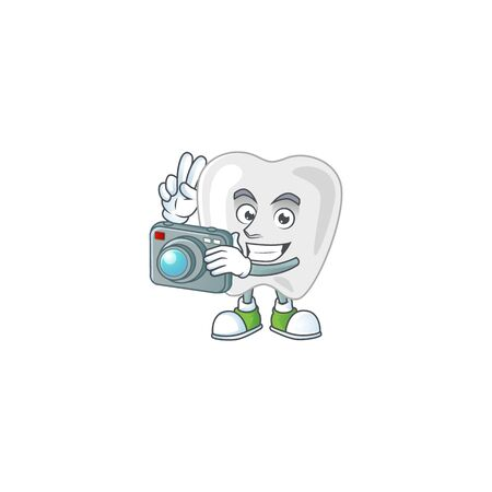 Teeth photographer mascot design concept using an expensive camera. Vector illustration