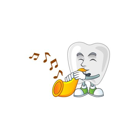 A brilliant musician of teeth cartoon character playing a trumpet. Vector illustration Vectores