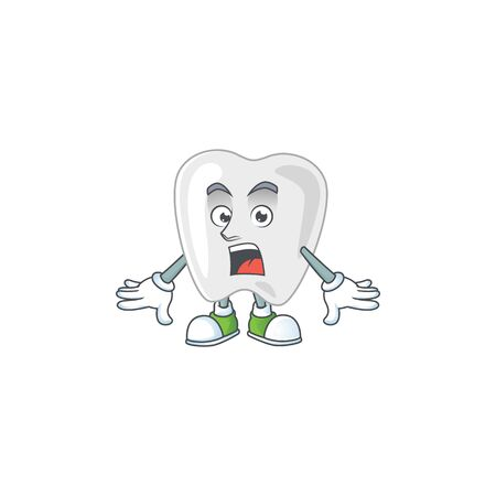 A cartoon design of teeth showing an amazed gesture. Vector illustration