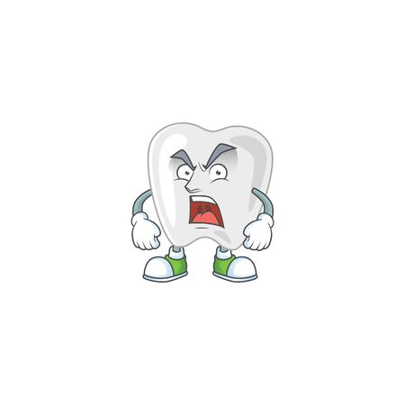 Teeth cartoon character design with mad face. Vector illustration