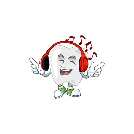 Cartoon mascot design teeth enjoying music with headset. Vector illustration