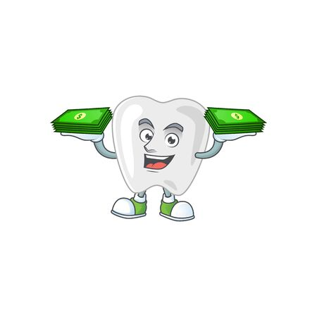A cheerful teeth mascot design with some money on hands. Vector illustration