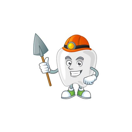 cartoon character design of teeth work as a miner. Vector illustration
