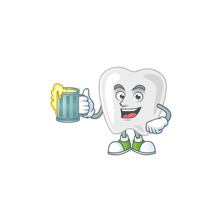 Happy teeth mascot style toast with a glass of beer. Vector illustration