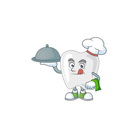 A teeth chef cartoon design with hat and tray. Vector illustration