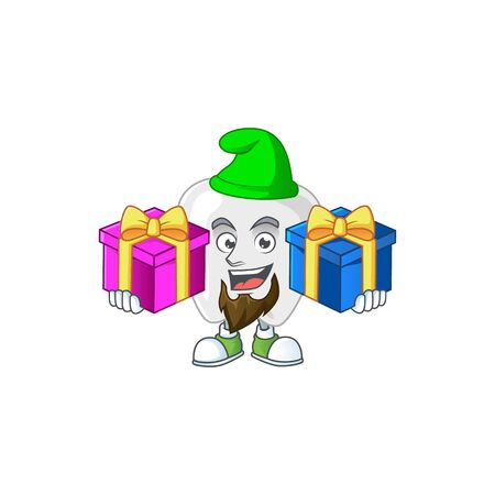 A smiling teeth cartoon design having Christmas gifts. Vector illustration Vectores