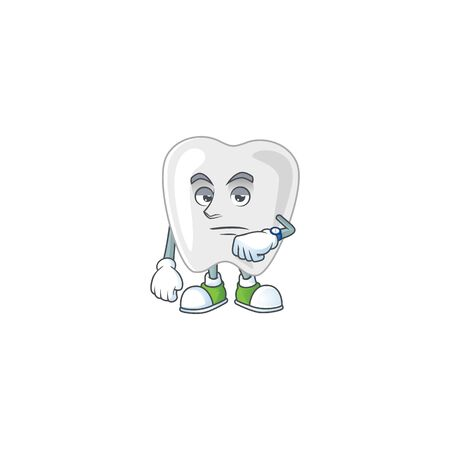 Teeth with waiting gesture cartoon mascot design concept. Vector illustration