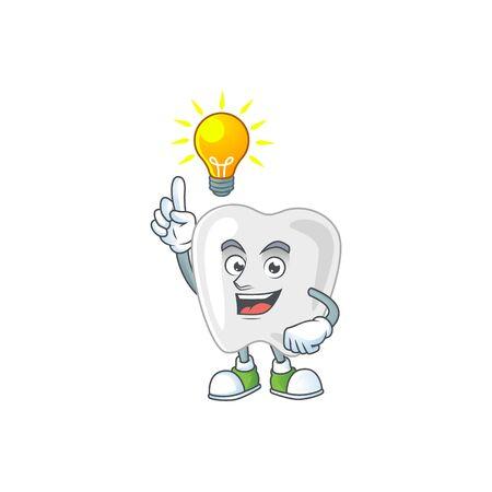 A genius teeth mascot character design have an idea. Vector illustration Vectores