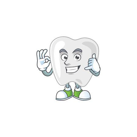 Teeth mascot cartoon design make a call gesture. Vector illustration
