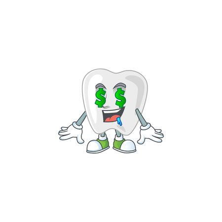 mascot character style of rich teeth with money eyes. Vector illustration Vectores