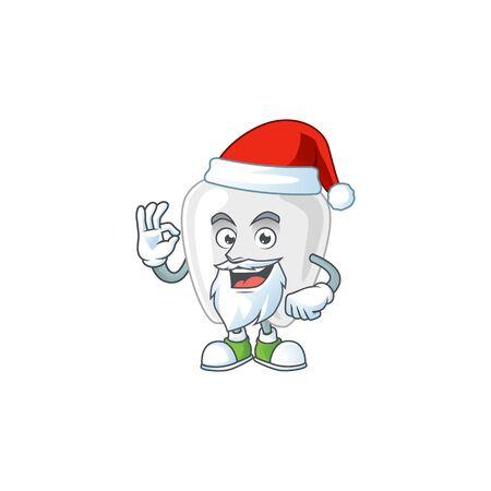 Friendly teeth Santa cartoon character design with ok finger. Vector illustration