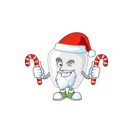 Teeth humble Santa Cartoon character having candies. Vector illustration