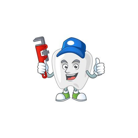 Mascot design concept of teeth work as smart Plumber. Vector illustration