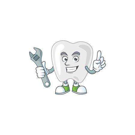 A mechanic teeth mascot character fix a broken machine. Vector illustration Vectores