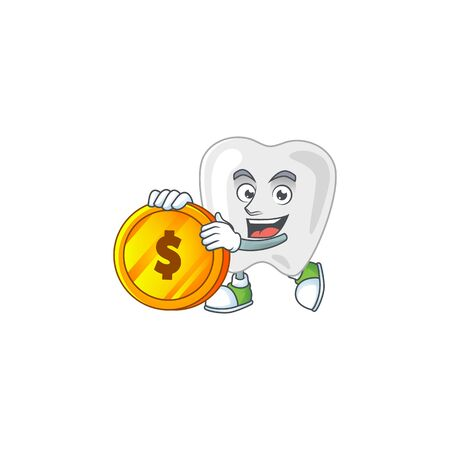Teeth rich cartoon character have big gold coin. Vector illustration