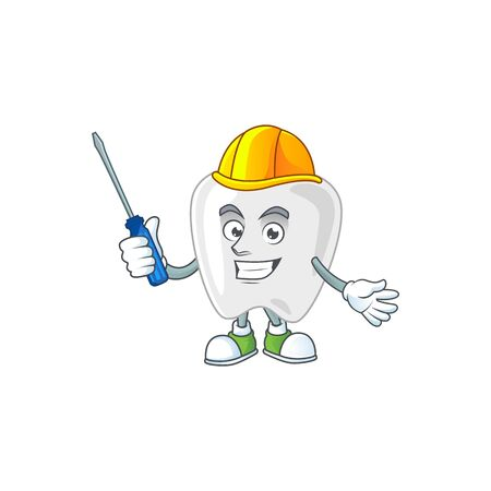 Smart automotive mechanic teeth presented in mascot design style. Vector illustration Vectores