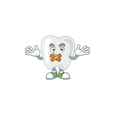 Teeth mascot cartoon design with quiet gesture. Vector illustration Vectores
