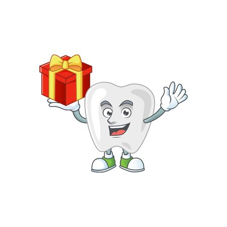 Charming teeth mascot design has a red box of gift. Vector illustration