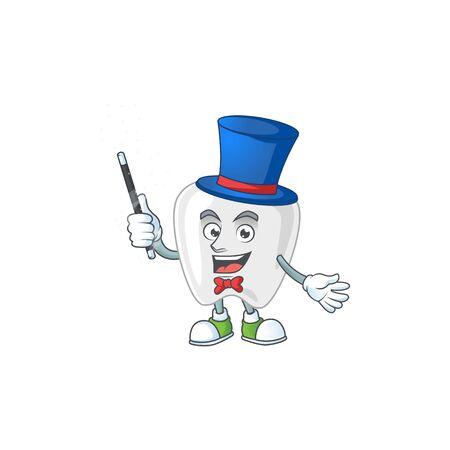 Talented teeth Magician cartoon character design style. Vector illustration