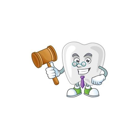 Charismatic Judge teeth cartoon character design with glasses. Vector illustration