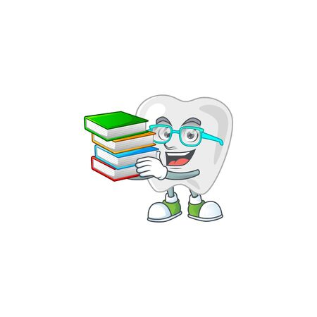A mascot design of teeth student character with book. Vector illustration