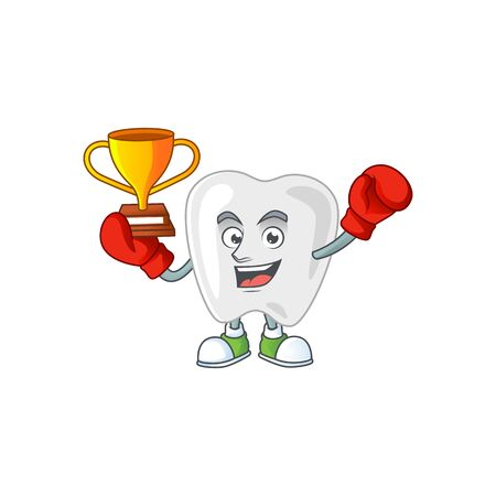 Proudly face of boxing winner teeth presented in cartoon character design. Vector illustration