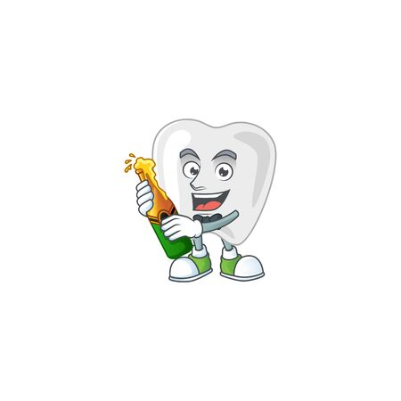 Mascot cartoon design of teeth making toast with a bottle of beer. Vector illustration