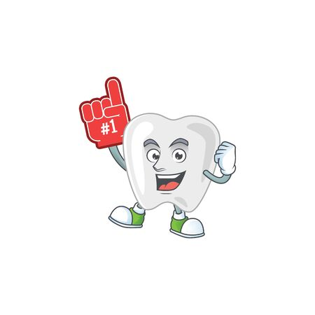Cartoon character concept of teeth holding red foam finger. Vector illustration Vectores