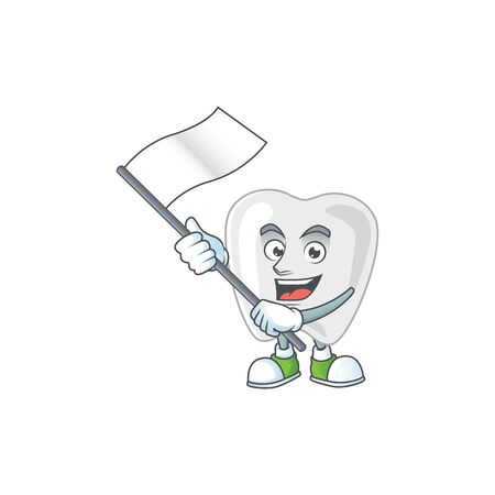 Cute cartoon character of teeth holding white flag. Vector illustration