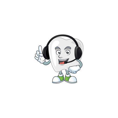 Teeth cartoon character style speaking on headphone. Vector illustration