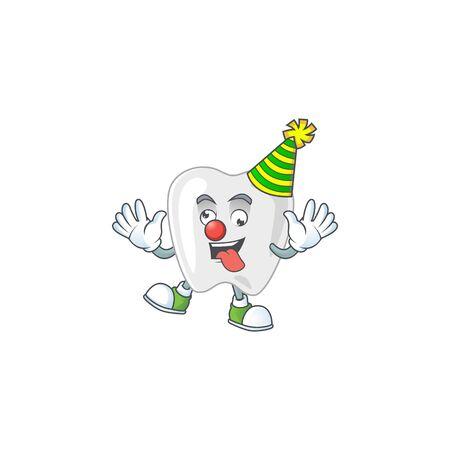 Amusing Clown teeth cartoon character mascot style. Vector illustration