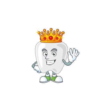 The Charismatic King of teeth cartoon character design wearing gold crown. Vector illustration